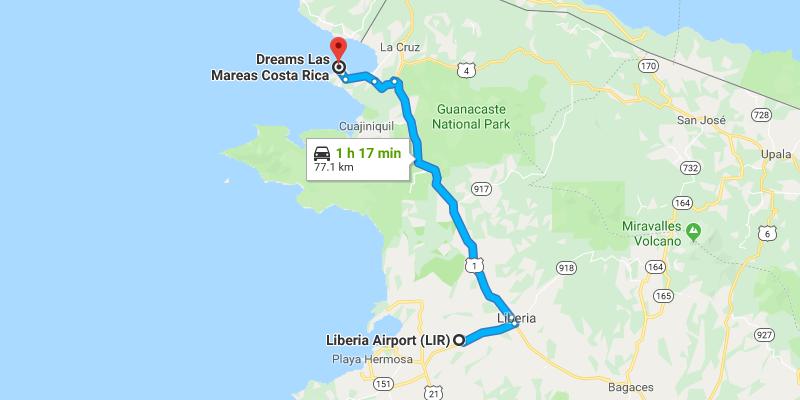 Liberia Airport to Dreams Las Mareas